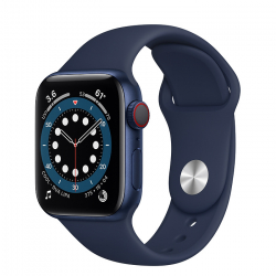 Apple Watch Series 6 GPS + Cellular 40mm Blue Aluminium Case with Deep Navy Sport Band ()