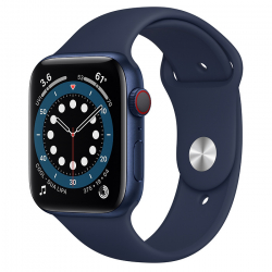 Apple Watch Series 6 GPS + Cellular 44mm Blue Aluminium Case with Deep Navy Sport Band ()