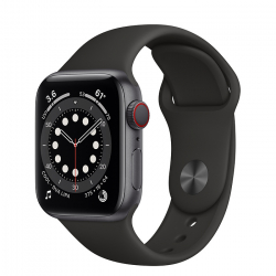 Apple Watch Series 6 GPS + Cellular 40mm Space Gray Aluminum Case with Black Sport Band (M02Q3)