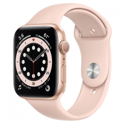 Apple Watch Series 6 GPS 44mm Gold Aluminum Case with Pink Sand Sport Band ()