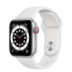 Apple Watch Series 6 GPS + Cellular 40mm Silver Aluminum Case with White Sport Band (M02N3)