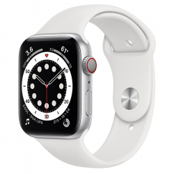 Apple Watch Series 6 GPS + Cellular 44mm Silver Aluminum Case with White Sport Band (M02D3)