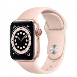 Apple Watch Series 6 GPS + Cellular 40mm Gold Aluminum Case with Pink Sand Sport Band (M02P3)