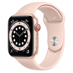 Apple Watch Series 6 GPS + Cellular 44mm Gold Aluminum Case with Pink Sand Sport Band ()