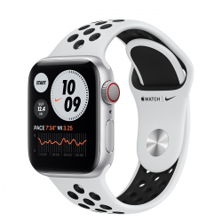 Apple Watch Series 6 Nike (GPS + Cellular) 40mm Silver Aluminum Case with Pure Platinum/Black Nike Sport Band (M06J3)