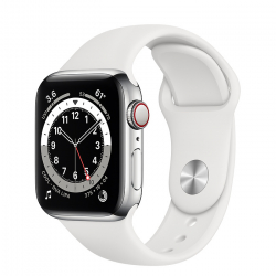 Apple Watch Series 6 GPS + Cellular 40mm Stainless Steel Case with White Sport Band (M02U3)