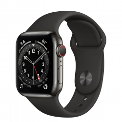 Apple Watch Series 6 GPS + Cellular 40mm Graphite Stainless Steel Case with Black Sport Band (M02Y3, M06X3)