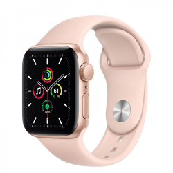 Apple Watch SE GPS 40mm Gold Aluminum Case with Pink Sand Sport Band (MYDN2)