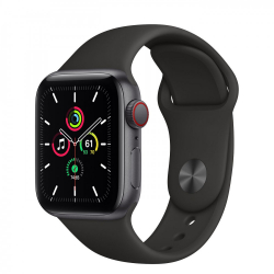 Apple Watch SE GPS + Cellular 40mm Space Gray Aluminum Case with Black Sport Band (MYED2)