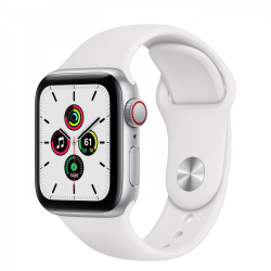 Apple Watch SE GPS + Cellular 40mm Silver Aluminum Case with White Sport Band (MYE82)