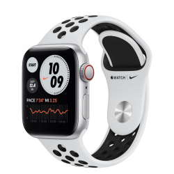 Apple Watch Series SE Nike GPS + Cellular 40mm Silver Aluminum Case with Pure Platinum/Black Nike Sport Band (MYYR2, MYYW2)