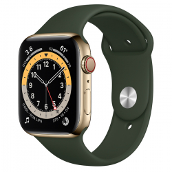 Apple Watch Series 6 GPS + Cellular 44mm Gold Stainless Steel Case with Cyprus Green Sport Band (M07N3/M09F3)