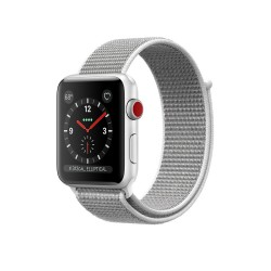 Apple Watch Series 3 (GPS + Cellular) 38mm Silver Aluminum Case with Seashell Sport Loop (MQJR2)
