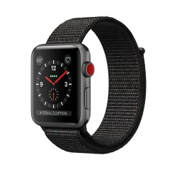 Apple Watch Series 3 (GPS + Cellular) 38mm Space Gray Aluminum Case with Black Sport Loop (MRQF2, MRQH2)