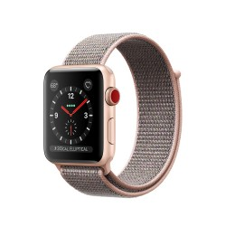 Apple Watch Series 3 (GPS + Cellular) 42mm Gold Aluminum Case with Pink Sand Sport Loop (MQK72, MQKT2)