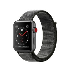Apple Watch Series 3 (GPS + Cellular) 42mm Space Gray Aluminum Case with Dark Olive Sport Loop (MQK62)