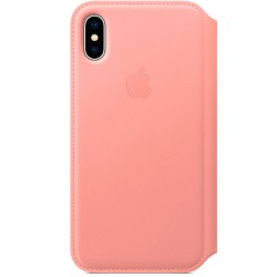 Apple iPhone X Leather Folio - Soft Pink